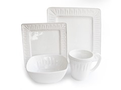 American Atelier Kenzie White Square 16-pc Dinnerware Set