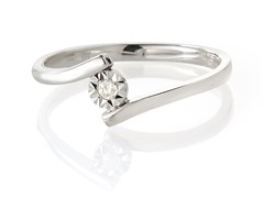 Edgewater Diamond Bypass Sterling Silver Ring