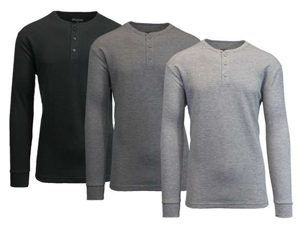 cf8dccb8117 Waffle-Knit Thermal Henley Tee 3-Pack