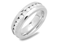 Stainless Steel Ring w/ Sim. Diamonds