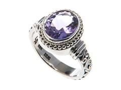 18kt Gold Bezel & Silver Amethyst Ring