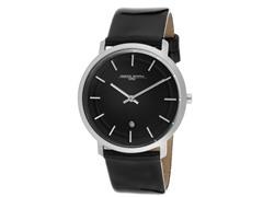 Unisex Slim Black Leather Watch