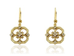 Riccova Retro 14K Gold Plated CZ Filigree Open Flower Dangle Earring