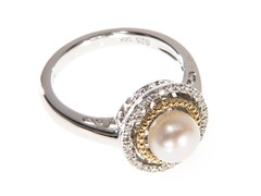 Silver & 14k Gold Pearl Ring