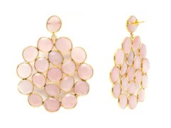 18k Gold Plated SS Pink Quartz Earrings