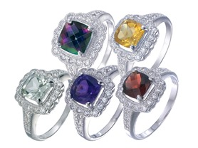 Sterling Silver Gemstone Rings-5 Choices
