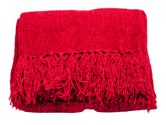 Susan Chenille Throw - Red