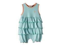 Knit Romper - Turquois & White Stripes (0M-24M)