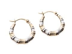 14kt Gold Bamboo Hoop Earrings, Two Tone