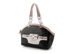 Guess Mikelle East/West Satchel Handbag, Black Multi
