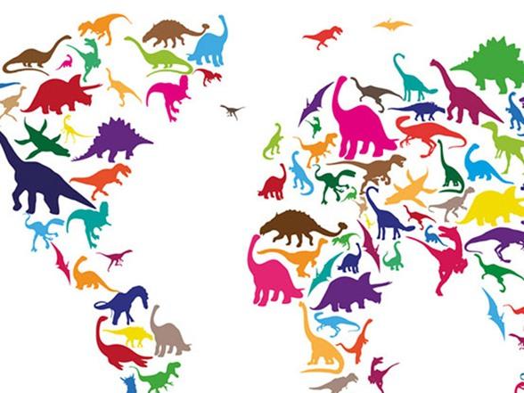 Dinosaur World Map 18x24 Canvas