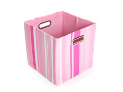 Rose Stripes Canvas Folding Storage Bin