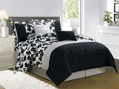 Leila 10Pc Comforter Set-Black-King