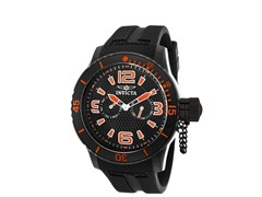 Men's Black/Orange Silicone Band Watch