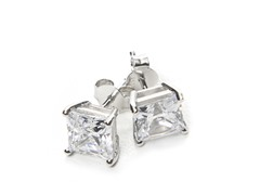 2.0CT Square CZ Soiltaire Post Earrings