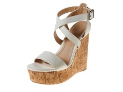 Carrini Strappy Wedge Sandal, White