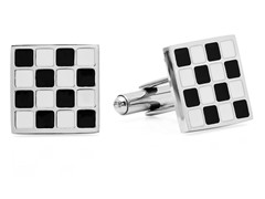 Stainless Steel Cufflinks w/ Black/White
