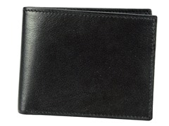 Leather Slim Passcase Wallet, Black