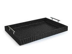 Alligator Black Tray with Metal Handles