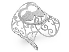 Stainless Steel Cuff w/ Glittered Heart
