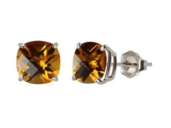 10K WG Stud Earrings, Citrine