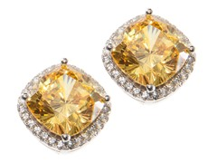 Sterling Silver, Square Yellow CZ