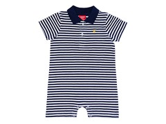 Navy/White Striped Polo Romper (0-12M)