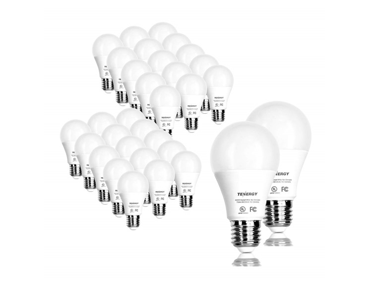 Tenergy 9W LED (60W Equivalent) A19 Bulbs, 32-Pack