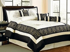 Nikita 7pc Comforter Set - Black - 2 Sizes