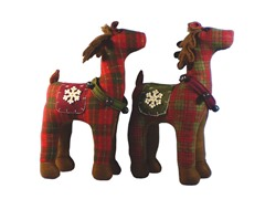 "17"" Plaid Reindeer Set of 2"