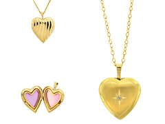 10kt Gold Reversible Satin Finish Heart Locket w/ Diamond