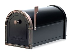 Coronado Mailbox with Adapter Plate, Black w/ Copper