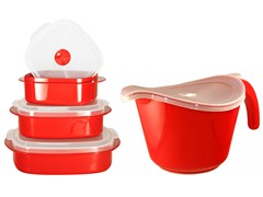 Batter Bowl, Lid & 6-Piece Set Red