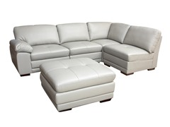 Grey 5-Pc Leather Modular Sectional