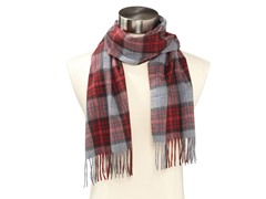 Amicale Cashmere Plaid Woven Scarf, Red, One Size