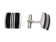 Stainless Steel Black Lines Cufflink