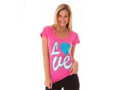 LOVE Rhinestuds Scoop Neck Tee, Pink