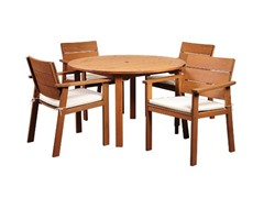 5-Piece Eucalyptus Round Dining Set