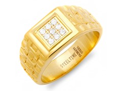 Men's 18kt Plated Texture Ring w/ Accent