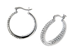 Stainless Steel & Crystal Hoop Earrings