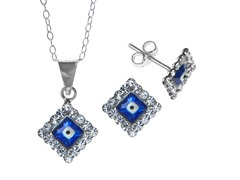 Sterling Silver Evil Eye Blue CZ Set
