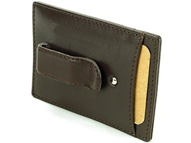 Hammer Anvil RFID SAFE Minimalist Money Clip Front Pocket Wallet, Brown