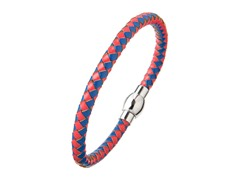 Red & Blue Leather Braided Bracelet