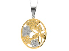 Two-Tone Flower Pendant w/ Necklace