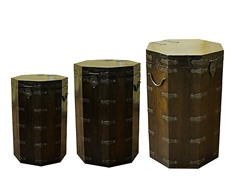 Wood Octagonal Box Set of 3