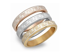 Set of 3 Stackable Rings w/ Greek Accent