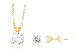 10k Yellow Gold Swarovski Zirconia Set
