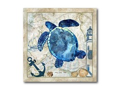 "Nautical Turtle Canvas Print 16""x16"""
