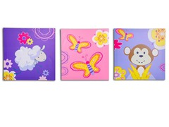Pink Jungle Canvas Print- Set of 3