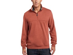 Arrow Men's Partial-Zip Sueded Pullover,Burnt Orng